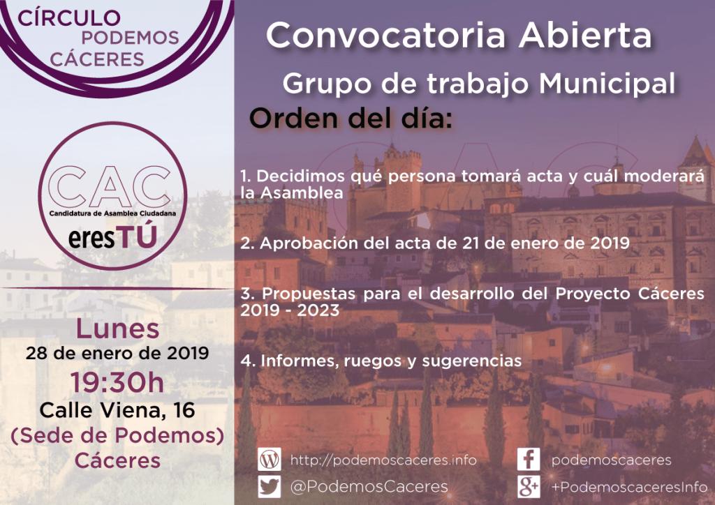 Asamblea del Grupo Municipal CACeresTú del lunes 28 de enero de 2019
