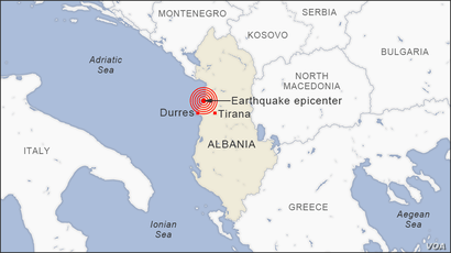 Map of Earthquake in Albania