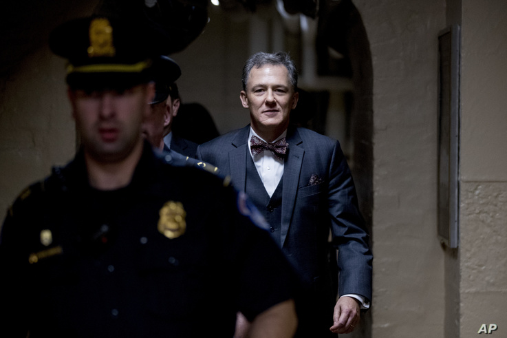 Deputy Assistant Secretary of State George Kent leaves Capitol Hill in Washington, Oct. 15, 2019, after testifying before congressional lawmakers as part of the House impeachment inquiry into President Donald Trump.