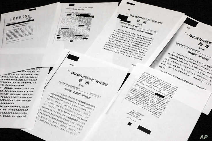 A sample of classified Chinese government documents leaked to a consortium of news organizations, is displayed for a picture in…