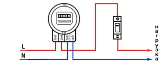 Схема подключения 1 фазного счетчика