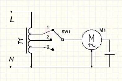 Схема ступенчатого регулятора с автотрансформатором