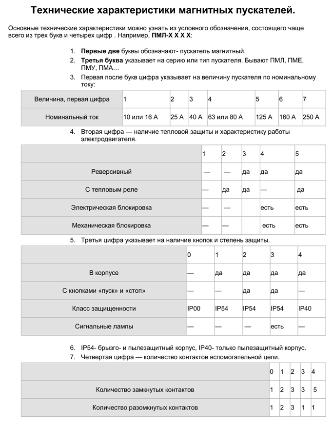Таблица технических характеристик магнитных пускателей