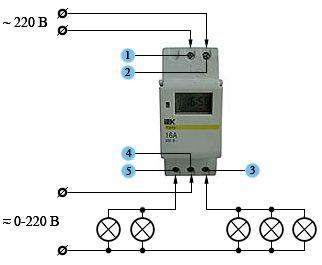 Схема подключения электронного таймера управления освещением