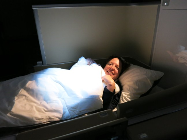Sleeping on first class Lufthansa flight to Croatia