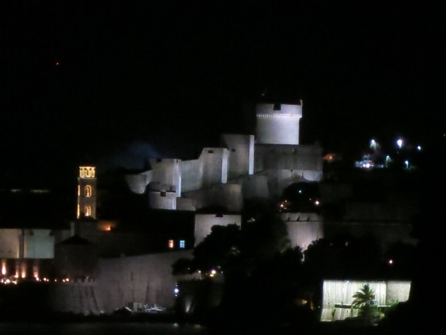 Dubrovnik walls at night