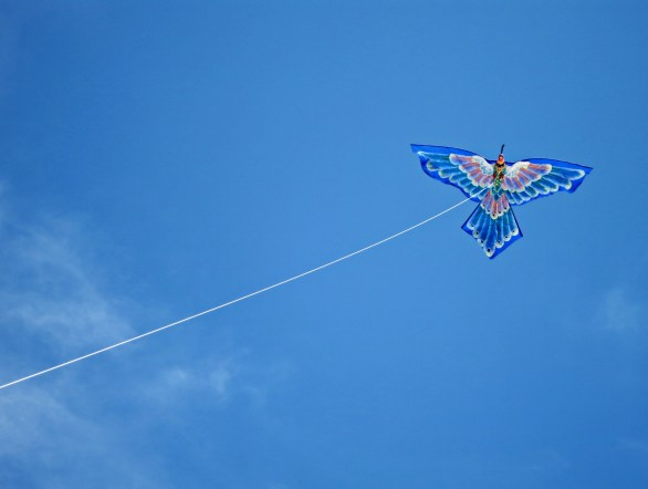 Balinese kite up in the sky.