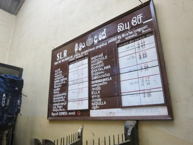 Train timetable in Sri Lanka