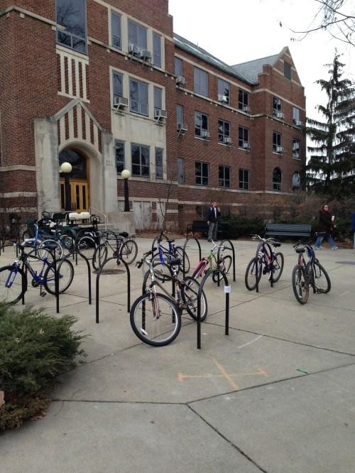 poem is taped to bike rack
