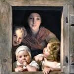 Femme est ses trois enfants