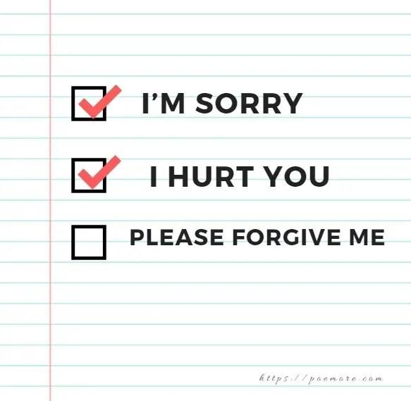 Forgiveness text message to a girlfriend