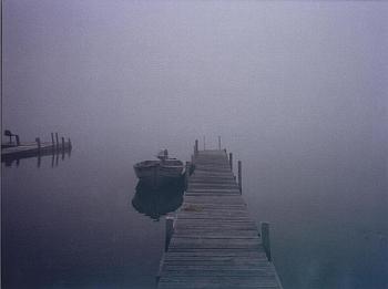 Boat at Pier in Fog