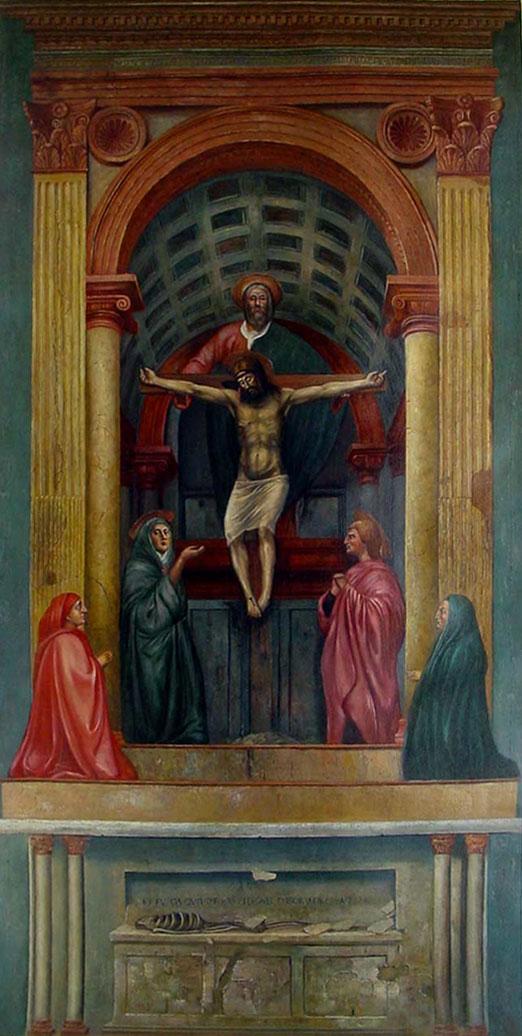 The Holy Trinity Masaccio, 1426-27 Fresco, Santa Maria Novella, Florence, Italy.