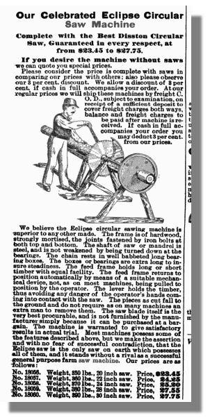 Sears & Roebuck Circular Saw Machine Ad 1897