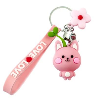 Roze kawaii kat sleutelhanger