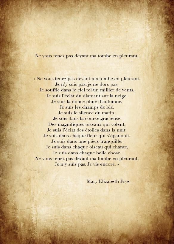Ne Pleure Pas Devant Ma Tombe : pleure, devant, tombe, Poeme, Pleure