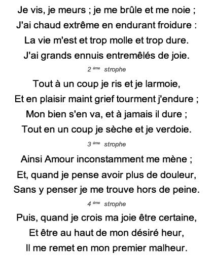 Je Vis, Je Meurs : meurs, Poesie, Meurs