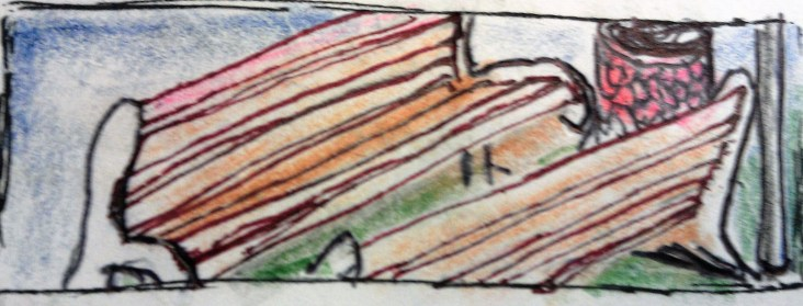 Downtown Bench ink & colored pencils