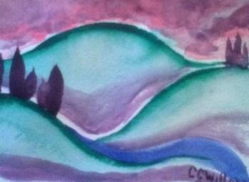 Sunset Hills watercolor