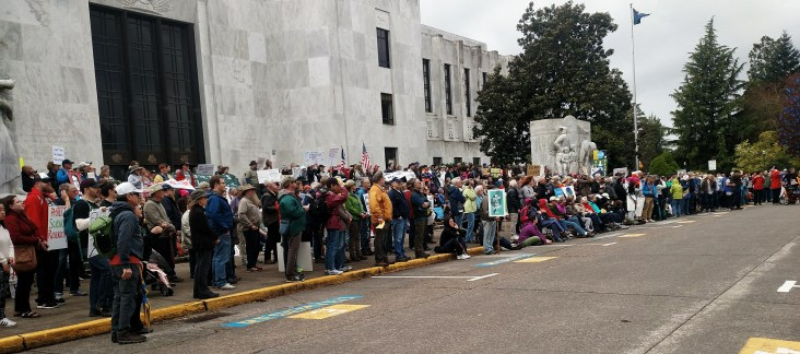 marchers on the Steps of Oregon's Capital