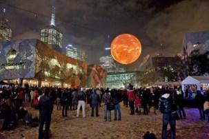 "Rafael Lozano-Hemmer, ""Solar Equation"", 2010. Federation Square, The Light in Winter Festival, Melbourne, Australia. Photo by: Marcel Aucar"