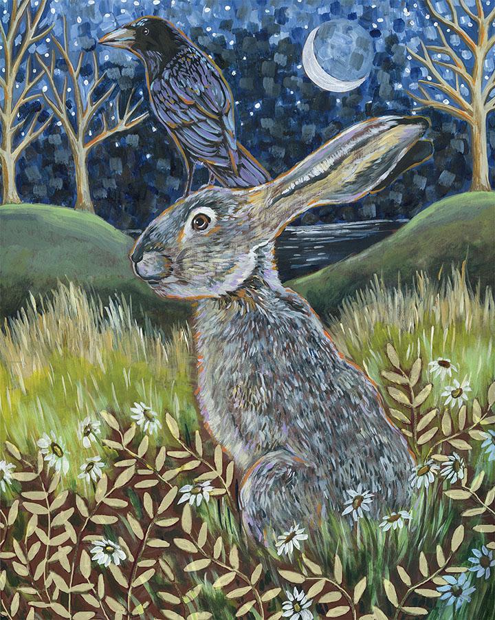Linnea Tobias-Rabbit and Crow Painting