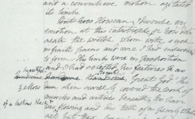 draft of frankenstein by mary shelley