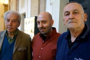 Da sinistra a destra: i poeti Elio Pecora, Alessandro D'Agostini, Valentino Zeichen