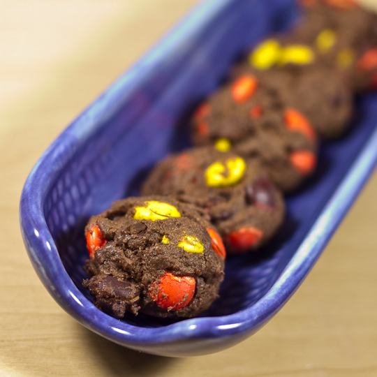 Reese's studded chocolate cookies