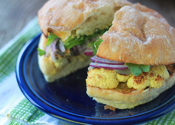 "Grilled Cauliflower ""Steak"" Burgers from Kitchen Treaty"