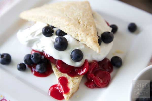 Red White & Blue Cherry Shortcakes from Tried and Tasty