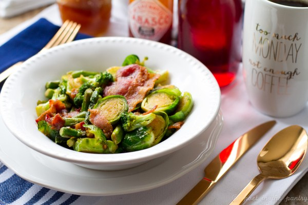 Sweet and Spicy Bacon, Brussels Sprouts, Broccoli, and Asparagus