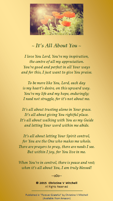 Its All About You Christines Poetry Blog
