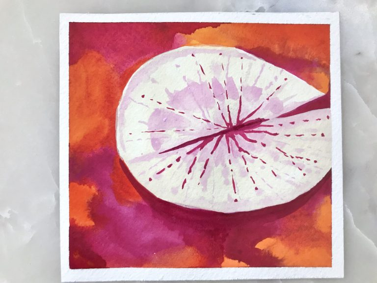 Lily pad gouache painting