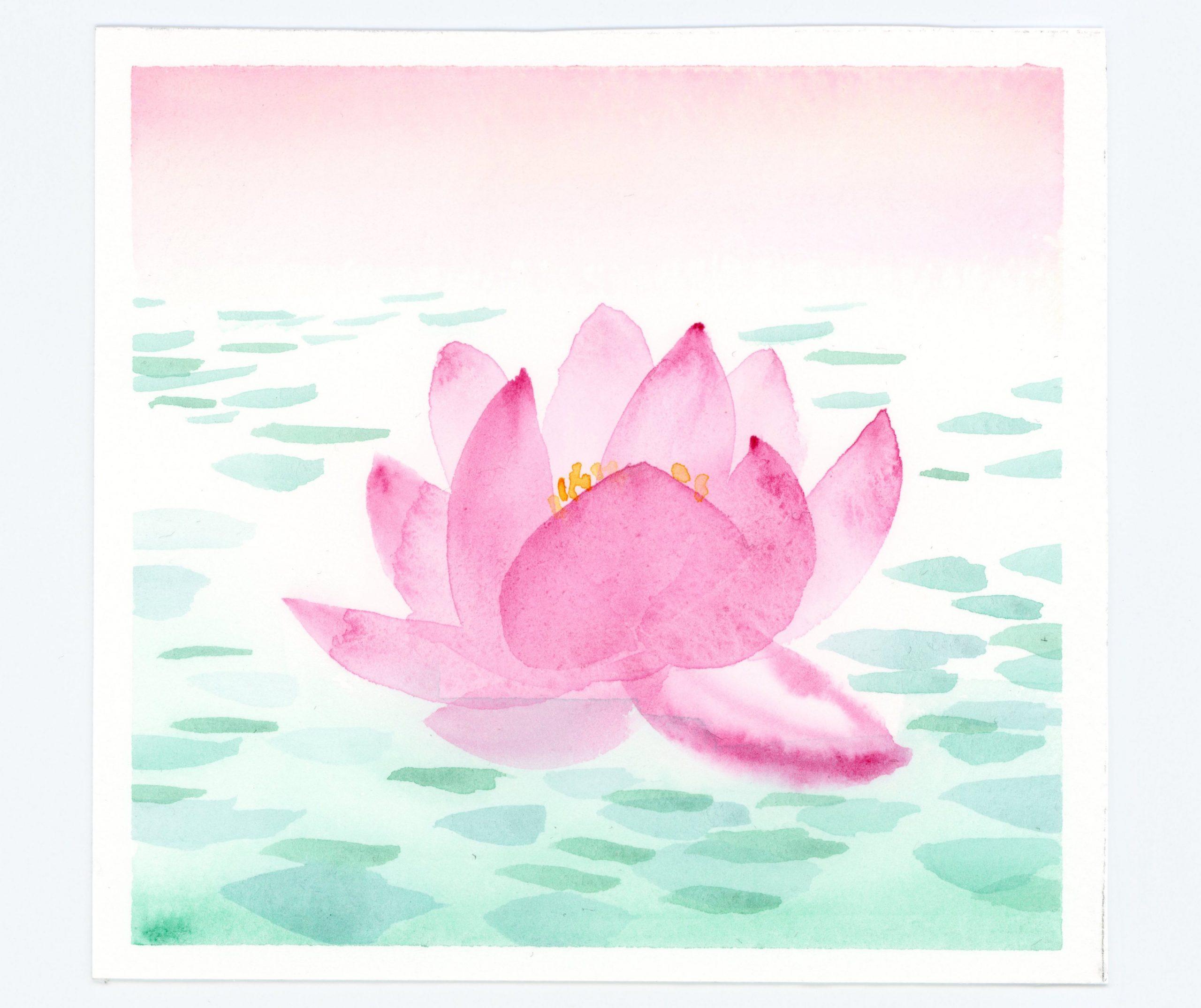 Watercolor waterlily