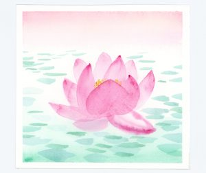 Watercolor waterlily
