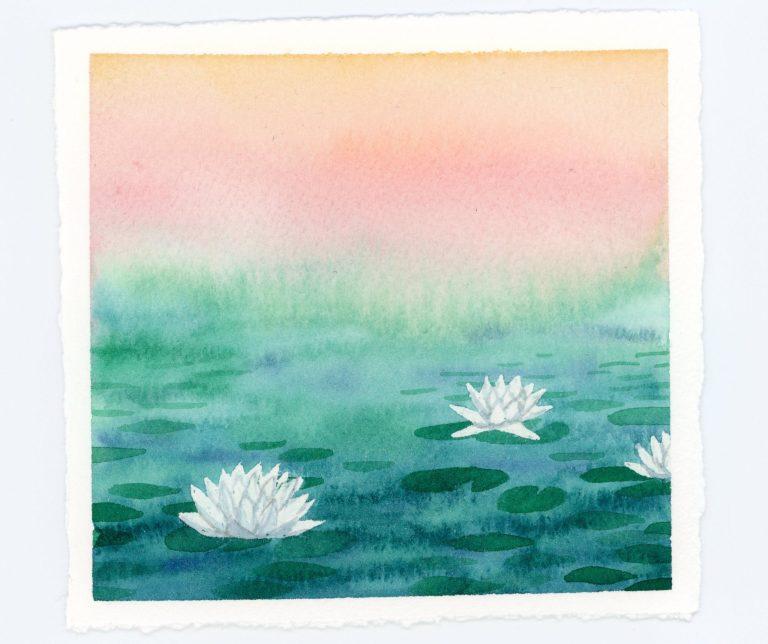 Waterlilies watercolor illustration