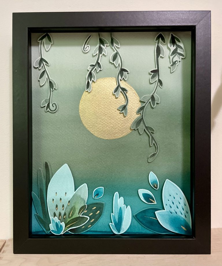 Moonlight 3D watercolor shadowbox art
