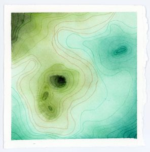Topography watercolor and ink art