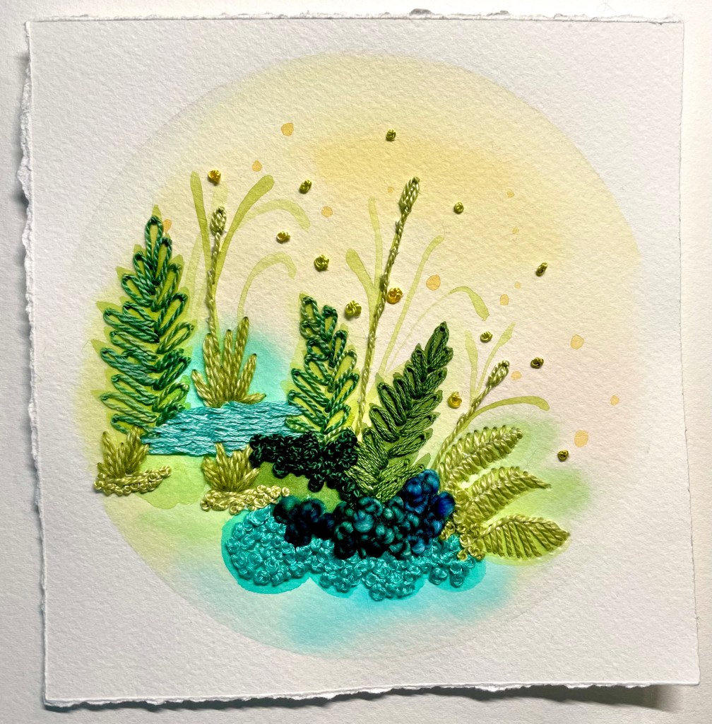 Woodland watercolor and embroidery