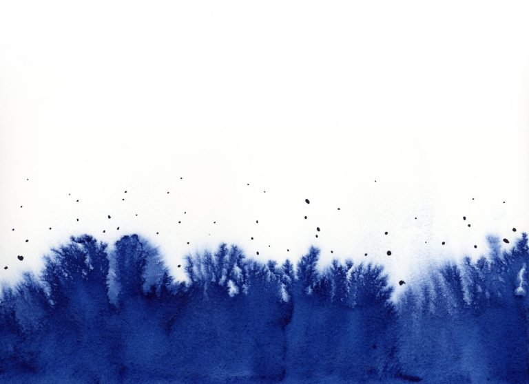 Inky blue abstract watercolor painting