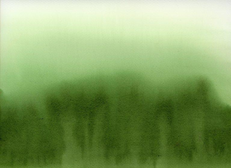Green wash abstract watercolor painting
