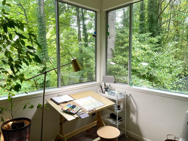 Watercolor painting studio set-up