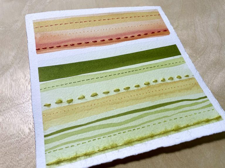 Green & Orange Stripes watercolor painting and embroidery