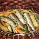 Merlucius, cod (peste alb) rasol cu legume