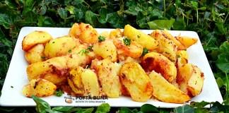 Cartofi cu suc de rosii la cuptor, de post