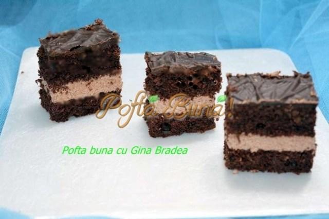 Prajitura pufoasa cu branza si ciocolata