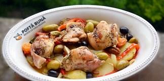 Iepure cu legume si masline la cuptor, reteta simpla