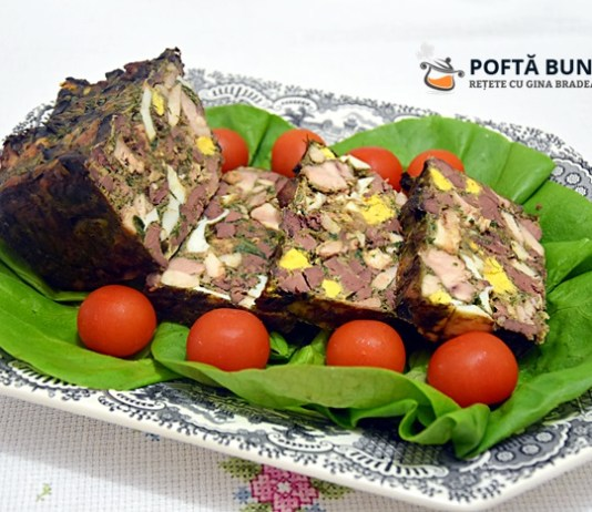 Reteta de drob mozaic din carne si ficat de pui sau curcan