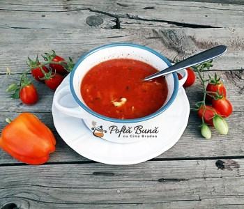Supa de rosii cu taietei lenesi, turnatei, reteta rapida